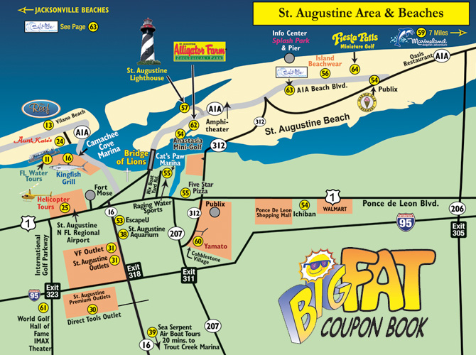 St. Augustine Area and Beaches Map